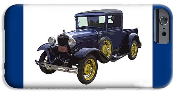Old Truck iPhone Cases - 1930 - Model A Ford - Pickup Truck iPhone Case by Keith Webber Jr