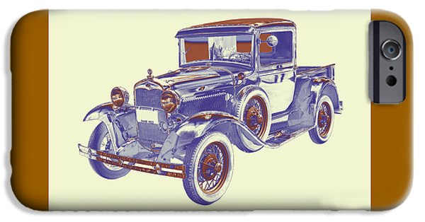 Model Digital Art iPhone Cases - 1930 Model A Ford Pickup Truck Pop Art iPhone Case by Keith Webber Jr
