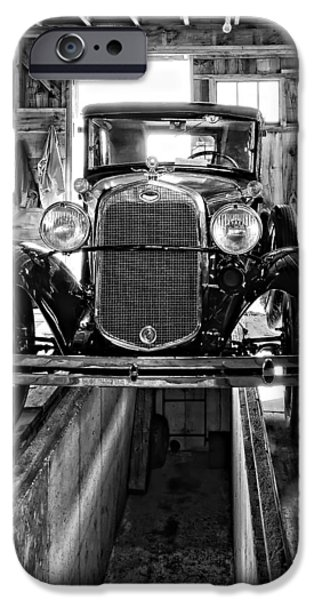 1930 Model T Ford monochrome iPhone Case by Steve Harrington