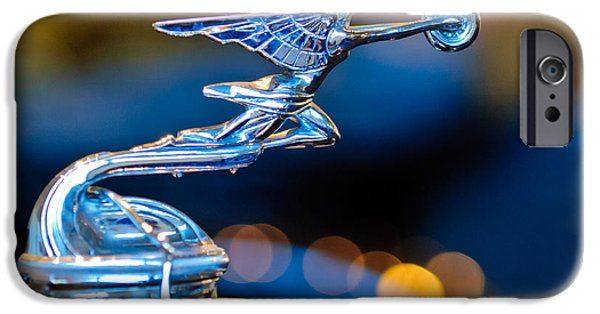 Beach Model iPhone Cases - 1930 Packard Model 733 Convertible Coupe Hood Ornament iPhone Case by Jill Reger