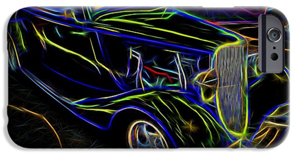 Collectible Mixed Media iPhone Cases - 1930s Ford Coupe Neon Abstract iPhone Case by Gary Whitton