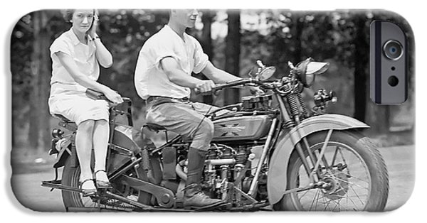Motorcycle iPhone Cases - 1930s MOTORCYCLE TOURING iPhone Case by Daniel Hagerman