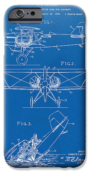 Emergency iPhone Cases - 1931 Aircraft Emergency Floatation Patent Blueprint iPhone Case by Nikki Marie Smith