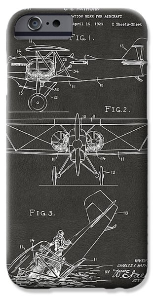 Emergency iPhone Cases - 1931 Aircraft Emergency Floatation Patent Gray iPhone Case by Nikki Marie Smith