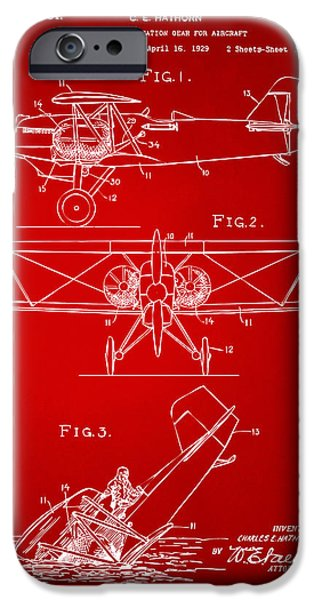Biplane iPhone Cases - 1931 Aircraft Emergency Floatation Patent Red iPhone Case by Nikki Marie Smith