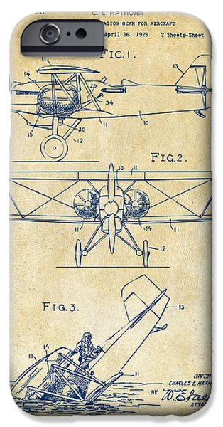 Cave Digital iPhone Cases - 1931 Aircraft Emergency Floatation Patent Vintage iPhone Case by Nikki Marie Smith