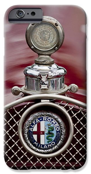 Motometer iPhone Cases - 1931 Alfa-Romeo Hood Ornament iPhone Case by Jill Reger