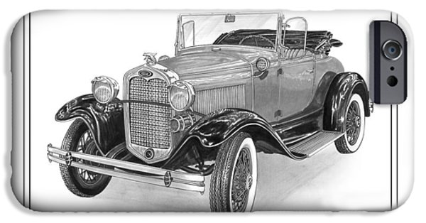Pen And Ink Framed Prints iPhone Cases - 1931 Ford Convertible iPhone Case by Jack Pumphrey