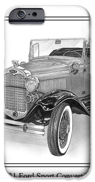 1931 Ford Convertible iPhone Case by Jack Pumphrey