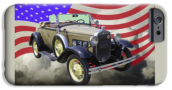 Antique Cars iPhone Cases - 1931 Ford Model A Cabriolet And American Flag. iPhone Case by Keith Webber Jr