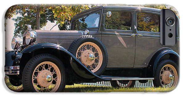 Village iPhone Cases - 1931 Ford Sedan on Hill at Greenfield Village in Dearborn Michigan iPhone Case by Design Turnpike