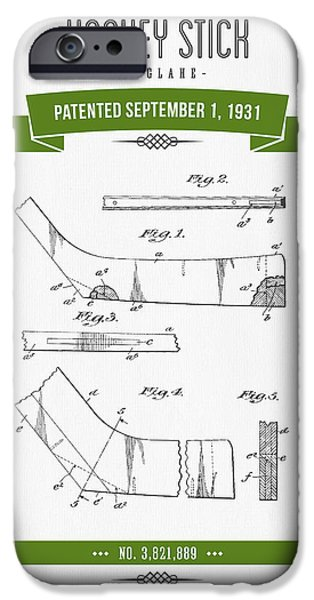Hockey Mixed Media iPhone Cases - 1931 Hockey Stick Patent Drawing - Retro Green iPhone Case by Aged Pixel