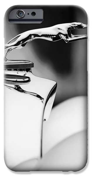 Lincoln iPhone Cases - 1931 Lincoln K Hood Ornament -1837bw iPhone Case by Jill Reger