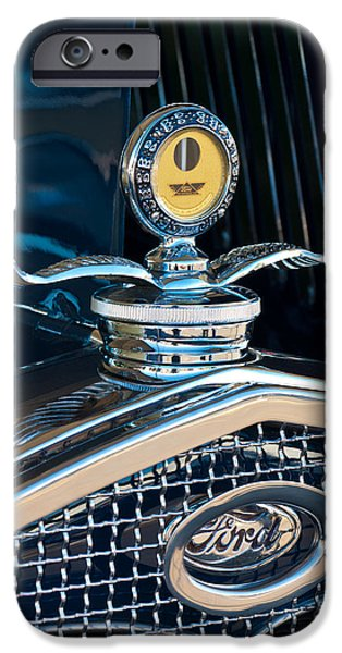 Model iPhone Cases - 1931 Model A Ford Deluxe Roadster Hood Ornament iPhone Case by Jill Reger