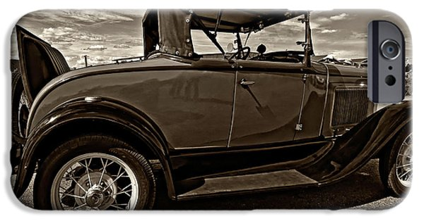 Ford Model T Car iPhone Cases - 1931 Model T Ford monochrome iPhone Case by Steve Harrington