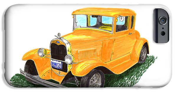 Pen And Ink Framed Prints iPhone Cases - 1931 Yellow Ford Coupe iPhone Case by Jack Pumphrey