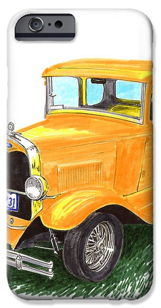 1931 Yellow Ford Coupe iPhone Case by Jack Pumphrey