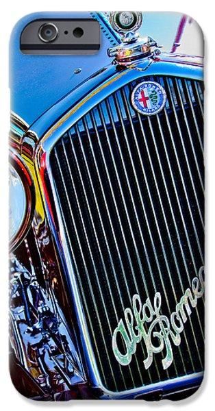 Professional Racing iPhone Cases - 1932 Alfa Romeo 6C 1750 Series V Gran Sport Grille Emblems iPhone Case by Jill Reger