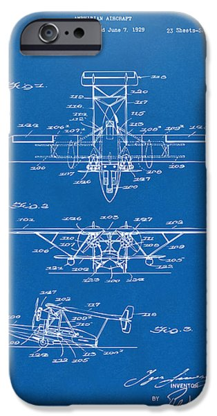 Amphibian iPhone Cases - 1932 Amphibian Aircraft Patent Blueprint iPhone Case by Nikki Marie Smith