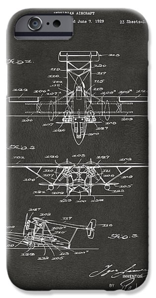 Aviator iPhone Cases - 1932 Amphibian Aircraft Patent Gray iPhone Case by Nikki Marie Smith