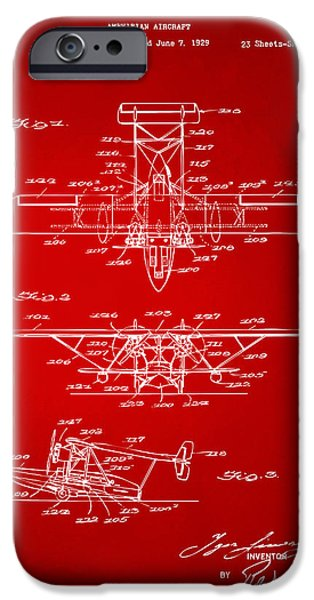 Amphibian iPhone Cases - 1932 Amphibian Aircraft Patent Red iPhone Case by Nikki Marie Smith