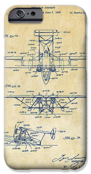 Amphibian iPhone Cases - 1932 Amphibian Aircraft Patent Vintage iPhone Case by Nikki Marie Smith