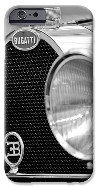 Bugatti Vintage Car iPhone Cases - 1932 Bugatti Type 55 Cabriolet Grille Emblems iPhone Case by Jill Reger
