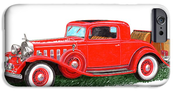 Classic Car Paintings iPhone Cases - 1932 Cadillac Rumbleseat Coupe iPhone Case by Jack Pumphrey