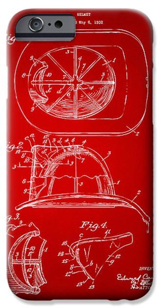 Waiting Room Drawings iPhone Cases - 1932 Fireman Helmet Artwork Red iPhone Case by Nikki Marie Smith