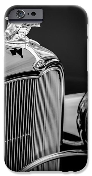 Ford V8 iPhone Cases - 1932 Ford V8 Hood Ornament - Grille Emblem iPhone Case by Jill Reger