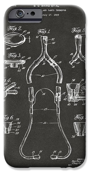 Practice iPhone Cases - 1932 Medical Stethoscope Patent Artwork - Gray iPhone Case by Nikki Marie Smith