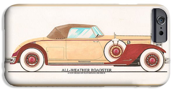 All American Drawings iPhone Cases - 1932 Packard All Weather Roadster by Dietrich concept iPhone Case by Jack Pumphrey