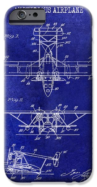 Airplanes Photographs iPhone Cases - 1933 Amphibious Airplane  Patent Drawing Blue iPhone Case by Jon Neidert