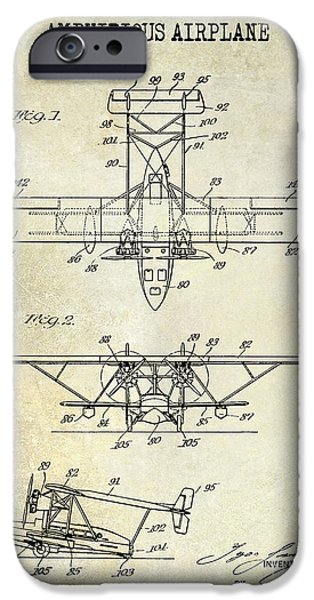 Airplanes Photographs iPhone Cases - 1933 Amphibious Airplane  Patent Drawing iPhone Case by Jon Neidert