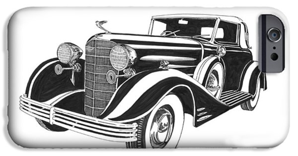 Owner Drawings iPhone Cases - 1933 Cadillac Victoria V 16 Convertible iPhone Case by Jack Pumphrey