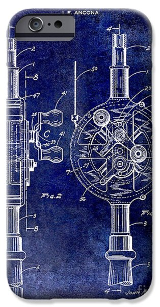 Cape Cod iPhone Cases - 1933 Fishing Reel Patent Drawing iPhone Case by Jon Neidert
