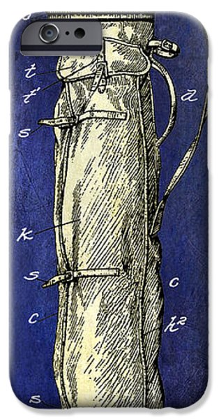 Golf Green iPhone Cases - 1933 Golf Bag Patent Drawing 2 Tone Blue iPhone Case by Jon Neidert