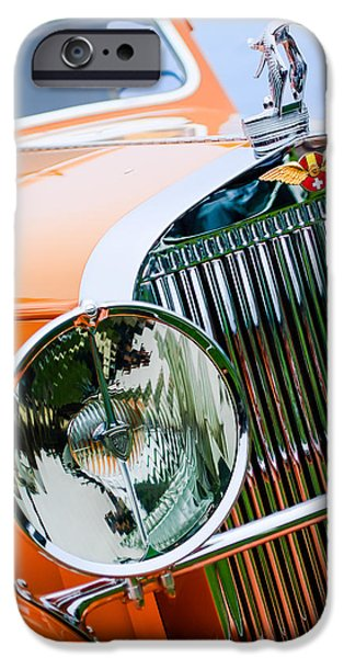 1933 iPhone Cases - 1933 Hispano-Suiza J12 Vanvooren Coupe Grill Emblem - Hood Ornament iPhone Case by Jill Reger