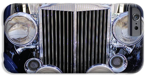 Antique Cars iPhone Cases - 1933 Packard 12 Convertible Coupe Grille iPhone Case by Jill Reger