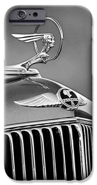 1933 iPhone Cases - 1933 Pontiac Hood Ornament - Emblem -0385BW iPhone Case by Jill Reger
