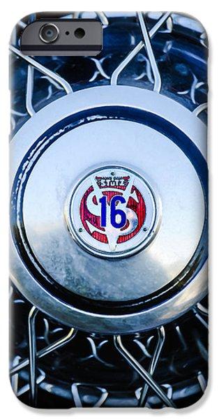 1933 iPhone Cases - 1933 Stutz SV-16 Five-Passenger Wheel Emblem iPhone Case by Jill Reger