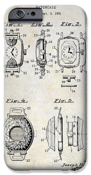 Pieces iPhone Cases - 1933 Watch Case Patent Drawing  iPhone Case by Jon Neidert