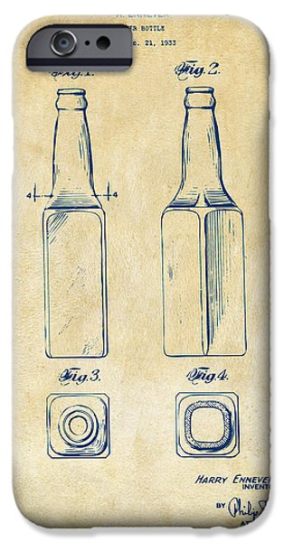 Food And Beverage Digital iPhone Cases - 1934 Beer Bottle Patent Artwork - Vintage iPhone Case by Nikki Marie Smith