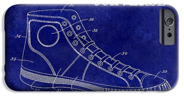 Nike Photographs iPhone Cases - 1934 Converse Shoe Patent Drawing Blue iPhone Case by Jon Neidert