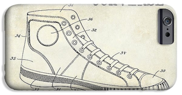 Nike Photographs iPhone Cases - 1934 Converse Shoe Patent Drawing iPhone Case by Jon Neidert