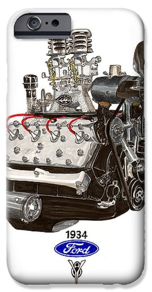 Inexpensive iPhone Cases - 1934 Ford Flathead V 8  iPhone Case by Jack Pumphrey