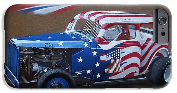 American Flag Drawings iPhone Cases - 1934 Ford Race car iPhone Case by Paul Kuras