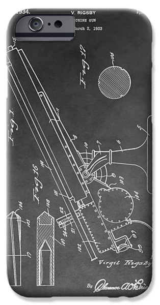 Weapon Mixed Media iPhone Cases - 1934 Machine Gun iPhone Case by Dan Sproul