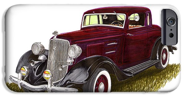 Suspension Drawings iPhone Cases - 1934 Plymouth P E Coupe iPhone Case by Jack Pumphrey