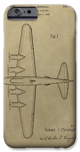 Transportation Mixed Media iPhone Cases - 1935 Bombing Airplane Patent iPhone Case by Dan Sproul